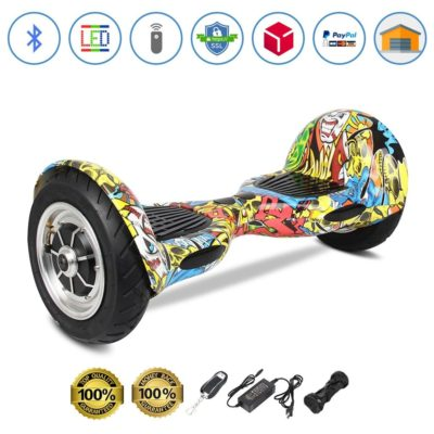 Smart Self Balancing Scooters: 10″, Graffiti Yellow, Bluetooth