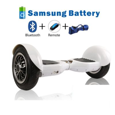 Smart Self Balancing Scooters: 10″, White, Bluetooth, Remote + Free Carry Bag