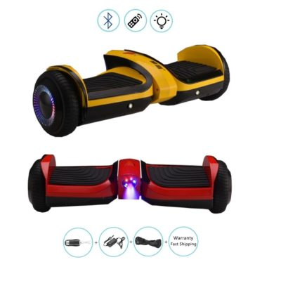 6.5″ Hoverboard, Self Balacing Scooter: Red, Yellow, Mobile App, Bluetooth & Speaker