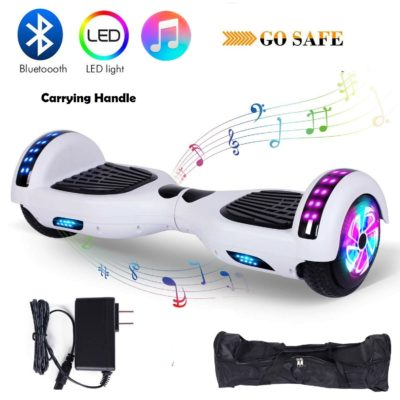 Hoverboards India T6 – Bluetooth, Speakers & 6.5 Inch White Hoverboard