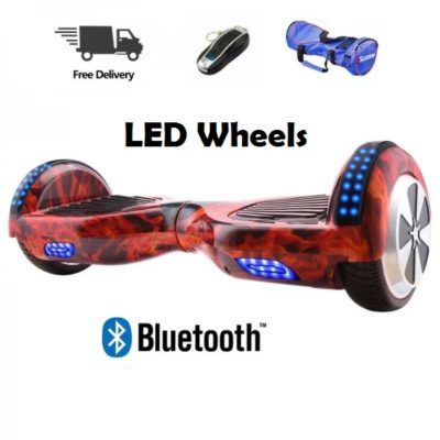 Hoverboards India T6 – 6.5″, LED Wheels, Remote, Red Fire