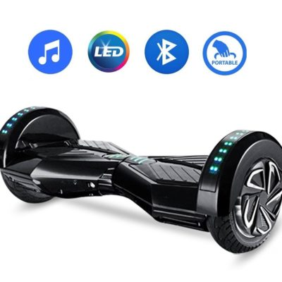Hoverboards India T8+: Hoverboard with Mobile APP & LED Wheels, Black