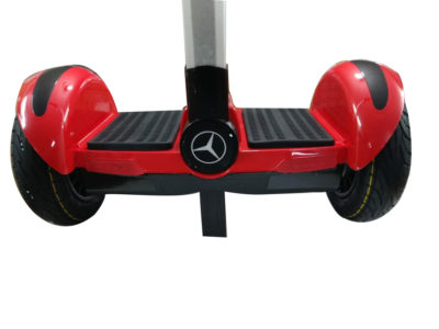 Red hoverboard with handle and led wheels