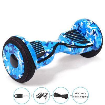 10 inch hoverboard, Blue Military, Bluetooth, Remote + Free Carry Bag